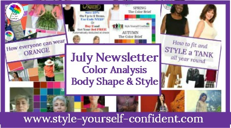Style Yourself Confident monthly Newsletter - articles, tips and features about COLOR, SHAPE and STYLE articles https://www.style-yourself-confident.com