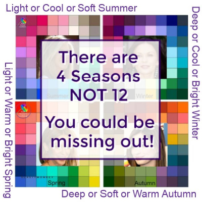There are 4 Seasons not 12. If you're not a True Season you may be missing out! #12seasons #seasonalcoloranalysis https://www.style-yourself-confident.com/12-season-color-analysis.html