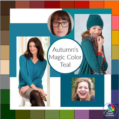 Autumn's magic color is Teal #teal #autumnsmagiccolor #autumnmagic #autumncolors https://www.style-yourself-confident.com/autumns-magic-color.html