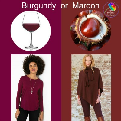 Burgundy or Maroon - do you know the difference?  Is it warm or cool? #burgundy #maroon https://www.style-yourself-confident.com/burgundy-or-maroon.html