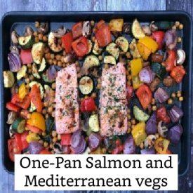 One Pan salmon and Mediterranean vegs #salmonrecipe #meatfree #lowfathighfibre https://www.style-yourself-confident.com/low-fat-high-fibre.html