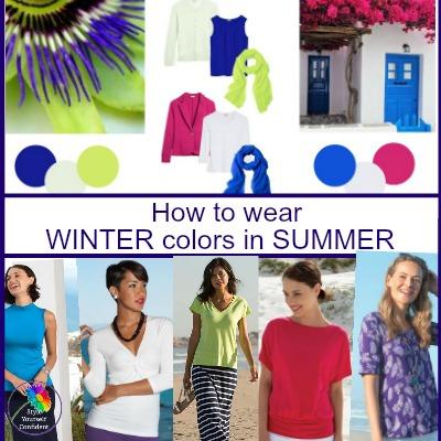 Winter colors in Summer #wintercolorsinsummer #winterseason #coloranalysis https://www.style-yourself-confident.com/winter-colors-in-summer.html