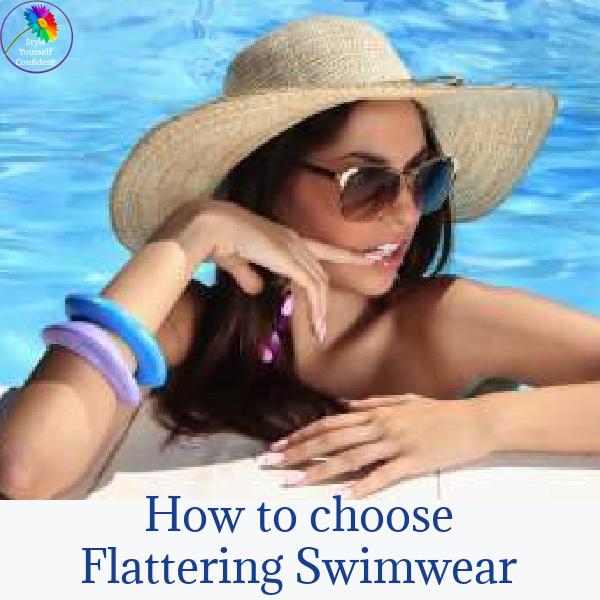 How to choose flattering swimwear #flatteringswimwear #womenswimwear https://www.style-yourself-confident.com/flattering-swimwear.html
