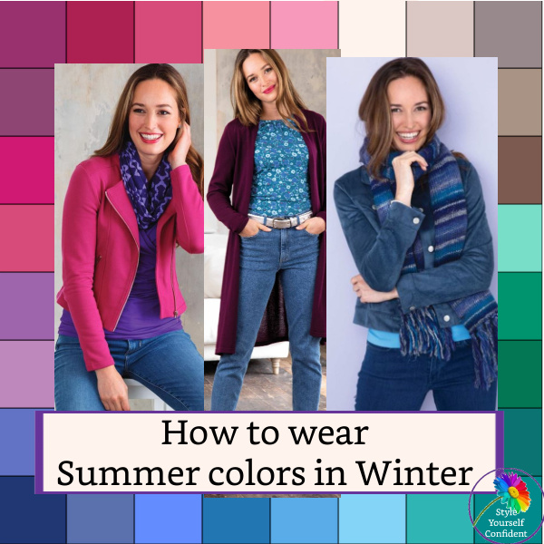 How to wear Summer colors in Winter #summerinwinter #summercolorsinwinter #wearsummer https://www.style-yourself-confident.com/summer-colors-in-winter.html