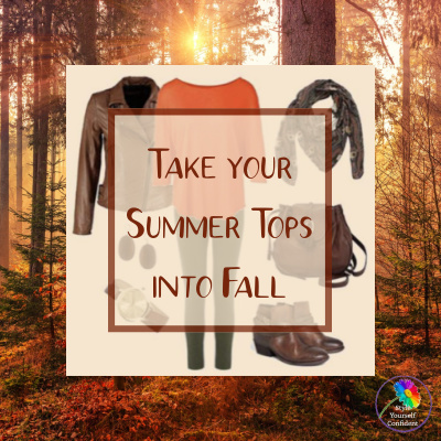 Take your Summer tops into Autumn with versatile styles and clever layering #summertopsintoautumn #autumnlayering https://www.style-yourself-confident.com/summer-tops-into-autumn.html