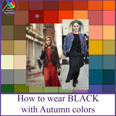 You can wear Black with Autumn colors #autumncolors #blackwithautumn https://www.style-yourself-confident.com/wearing-black-with-autumn.html