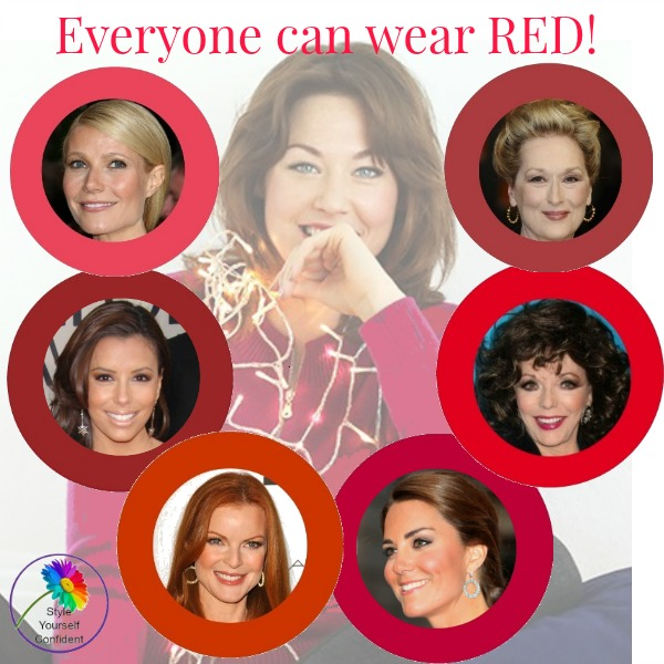Think you can't wear RED? There are shades in every color palette so that everyone can enjoy RED and look their best.  #wearred #redshades https://www.style-yourself-confident.com/wear-red.html