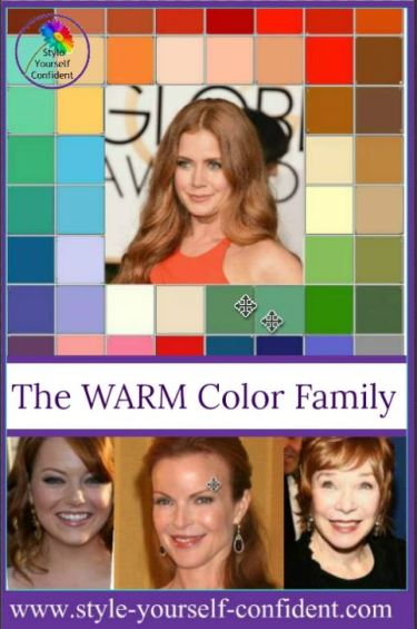 Color analysis Warm #warm color family #Amy Adams https://www.style-yourself-confident.com/color-analysis-warm.html