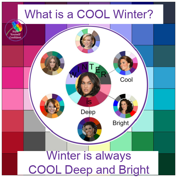 Winter is always Cool, Deep and Bright. If you are only using part of this you may be diluting your color palette #cool winter #color analysis  https://www.style-yourself-confident.com/cool-winter.html