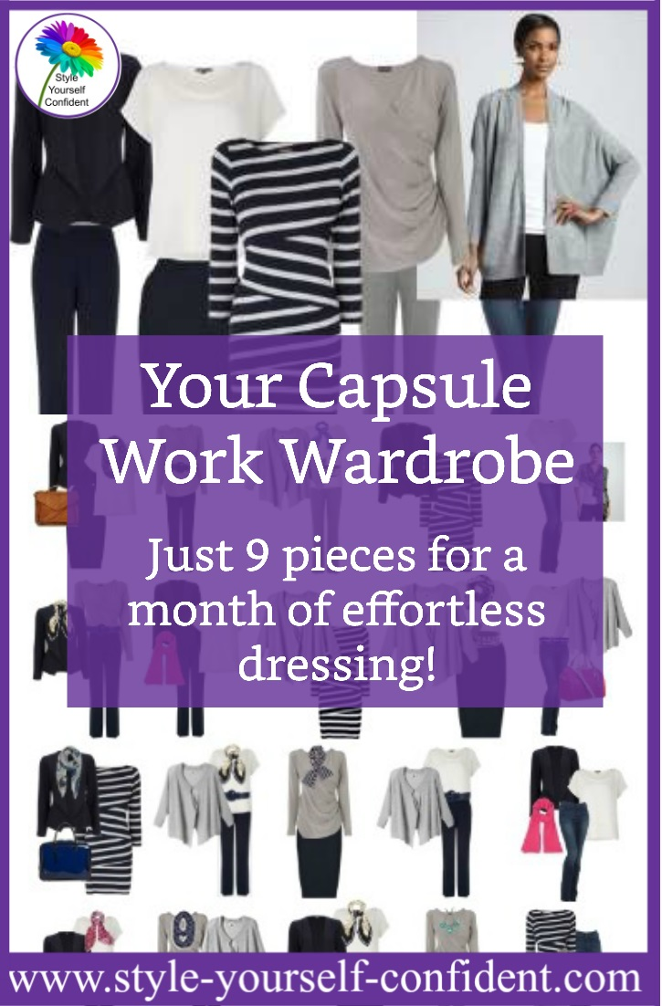 Capsule Wardrobe - a small collection of basic neutrals which can be mixed and matched with accessories to make many differen outfits.  http://www.style-yourself-confident.com/a-capsule-wardrobe.html