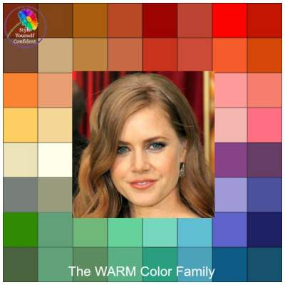 Color analysis Warm #warm color family #Amy Adams http://www.style-yourself-confident.com/color-analysis-warm.html