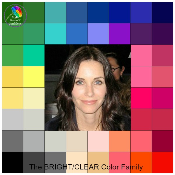 BRIGHT color family #color analysis #bright color family #Andie McDowell https://www.style-yourself-confident.com/color-analysis-bright.html