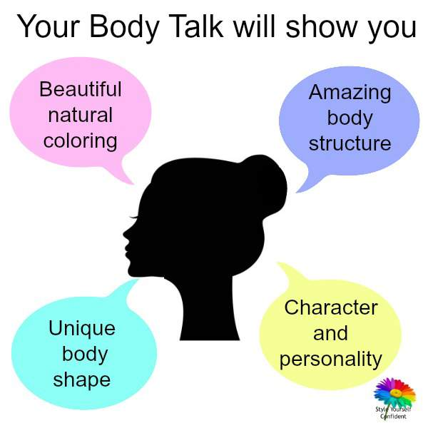 Listen to your Body Talk, discover the Colors Shapes and Styles to fit and flatter your face/figure. #bodytalk #coloranalysis https://www.style-yourself-confident.com/listen-to-your-body-talk.html