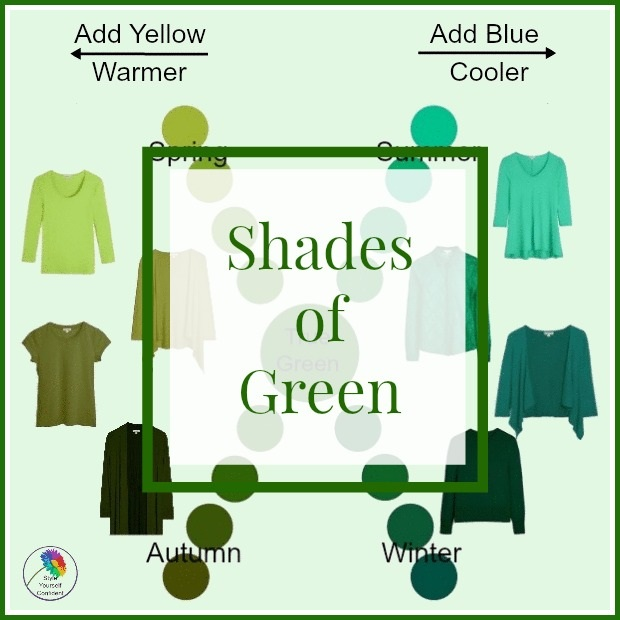 Shades of Green #shadesofgreen #howtoweargreen https://www.style-yourself-confident.com/shades-of-green.html