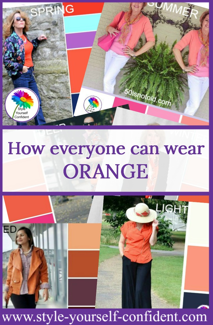 How to wear Orange - everyone can enjoy the power color of Summer. https://www.style-yourself-confident.com/how-to-wear-orange.html