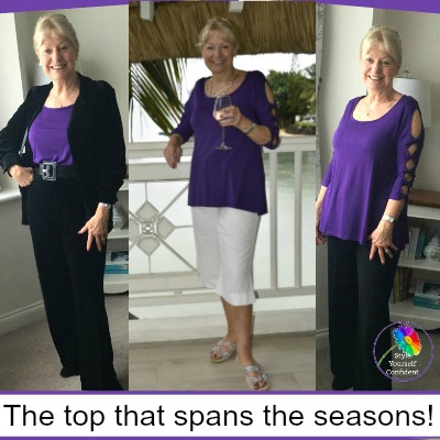 Covered Perfectly Peek-a-Boo top #coveredperfectly #coloranalysis #splitsleeve https://www.style-yourself-confident.com/covered-perfectly-peek-a-boo.html