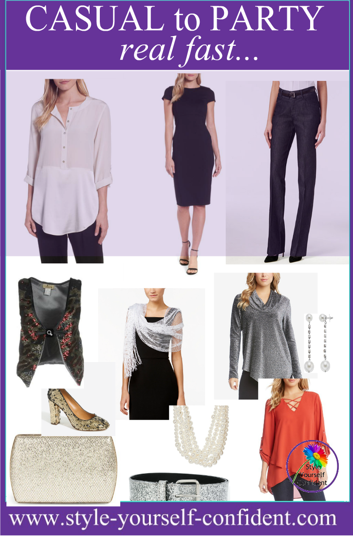 Casual to party - real fast #partywear http://www.style-yourself-confident.com/casual-to-party.html