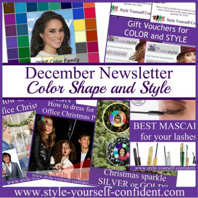 Color Analysis and Style newsletter December 2017  http://www.style-yourself-confident.com/your-style-052.html