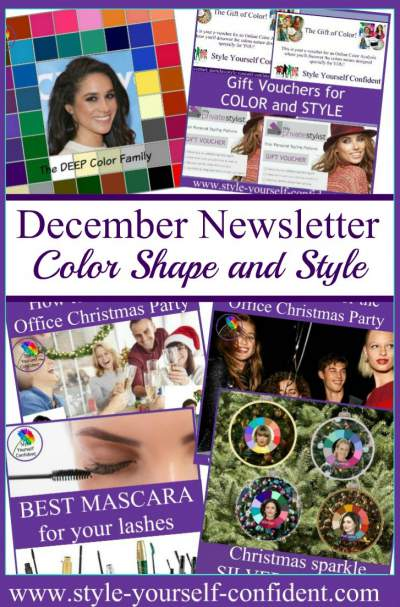 Color Analysis and Style newsletter Dec 2017 http://www.style-yourself-confident.com/