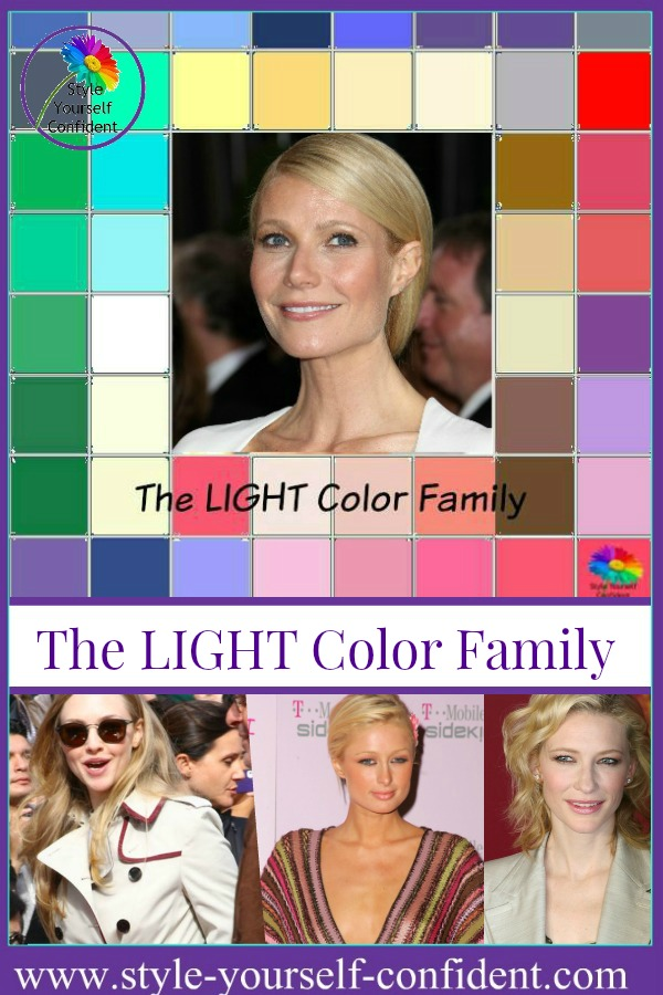 The LIGHT color family #color analysis  #light color family http://www.style-yourself-confident.com/color-analysis-light.html
