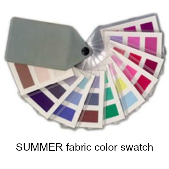 Summer 45 color fabric swatch fan #color analysis #Summer #soft Summer http://www.style-yourself-confident.com/soft-summer.html