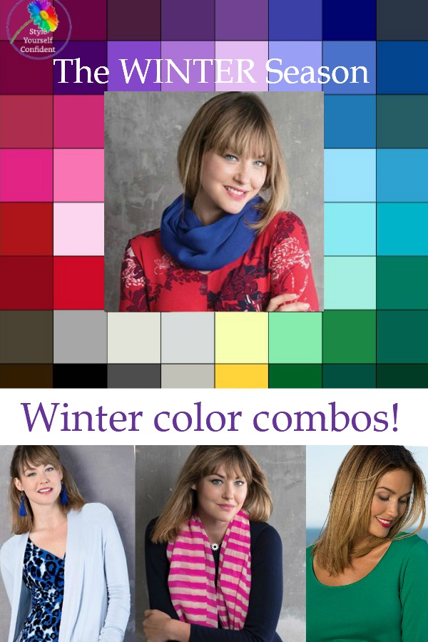 Winter color combinations from Kettlewell Colours #Winter #Kettlewell https://www.style-yourself-confident.com/winter-color-combinations.html