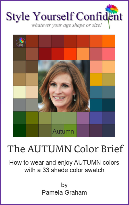Autumn Color Brief - How to wear and enjoy the Autumn color family with 33 colors #coloranalysisbooks #autumnseason  http://www.style-yourself-confident.com/books-and-ebooks.html