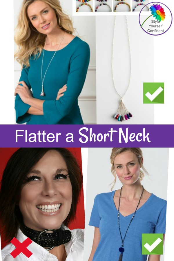 Flatter a short neck with an open neck #shortneck https://www.style-yourself-confident.com/short-neck.html