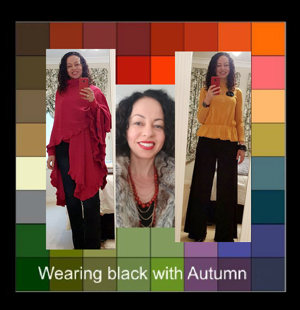 Wearing black with Autumn colors http://www.style-yourself-confident.com/wearing-black-with-autumn.html #autumncolors #wearingblack