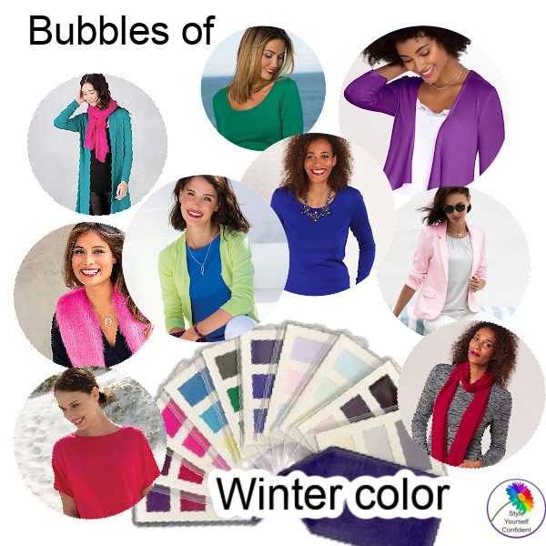 Winter fabric color swatch  #Winter coloring #color swatch #color analysis https://www.style-yourself-confident.com/winter-swatch.html
