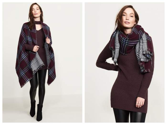 Reversible wrap, poncho or scarf