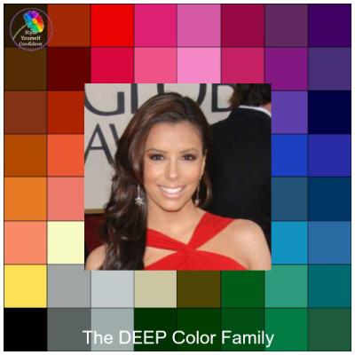 Deep tonal coloring - The DEEP color family #color analysis #deep color family #Eva Longoria http://www.style-yourself-confident.com/color-analysis-deep.html