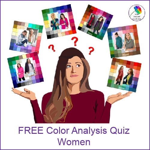 Free Color Analysis quiz for Women and Men #coloranalysis #freecoloranalysis #coloranalysisquiz  https://www.style-yourself-confident.com/free-color-analysis-quiz.html
