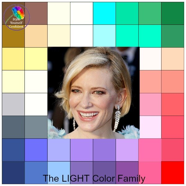 Light tonal coloring #coloranalysis #lightcontrast #lightcolors https://www.style-yourself-confident.com/light-tonal-coloring.html