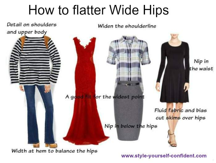 How to flatter wide hips #wide hips #curved hips  https://www.style-yourself-confident.com/wide-hips.html
