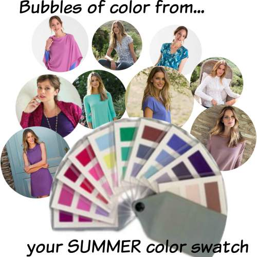 Bubbles of Summer color from Kettlewell Colours  #Summer season  #Summer colors #color analysis http://www.style-yourself-confident.com/seasonal-color-analysis-summer.html