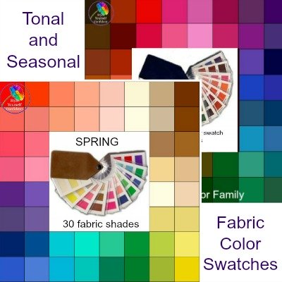 Fabric color swatches - Tonal and Seasonal #colorswatch #coloranalysis  https://www.style-yourself-confident.com/color-analysis-swatch.html